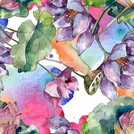Foto de Flores botánicas florales de loto. Flor silvestre de la hoja de primavera wildflower. Conjunto de ilustraciones de acuarela. Acuarela dibujando moda acuarela. Patrón de fondo sin costuras. Textura de impresión de fondo de pantalla de tela. - Imagen libre de derechos