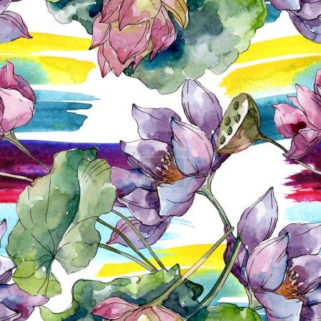 Photo pour Fleurs botaniques florales de lotus. Fleur sauvage sauvage de feuille de source. Ensemble d'illustration d'aquarelle. Aquarelle de dessin à l'aquarelle. Modèle de fond sans couture. Texture d'impression de papier peint de tissu. - image libre de droit
