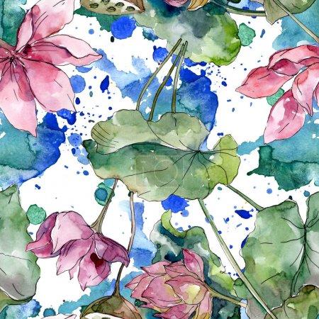Flores botánicas florales de loto. Flor silvestre de hoja de primavera. Juego de ilustración en acuarela. Acuarela dibujo moda aquarelle. Patrón de fondo sin costuras. Textura de impresión de papel pintado de tela .