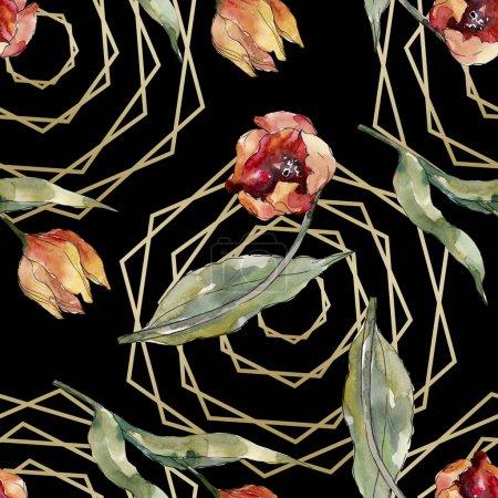 Photo pour Fleur botanique florale de tulipe rouge. Feuille de printemps sauvage fleur sauvage. Ensemble d'illustration aquarelle. Aquarelle dessin mode aquarelle. Modèle de fond sans couture. Texture d'impression papier peint tissu . - image libre de droit