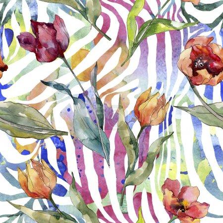 Foto de Flor botánica floral de tulipán rojo. Flor silvestre de la hoja de primavera wildflower. Conjunto de ilustraciones de acuarela. Acuarela dibujando moda acuarela. Patrón de fondo sin costuras. Textura de impresión de fondo de pantalla de tela. - Imagen libre de derechos