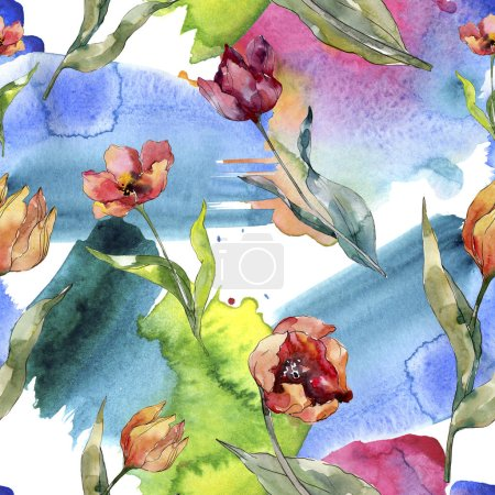 Photo for Red tulip floral botanical flower. Wild spring leaf wildflower. Watercolor illustration set. Watercolour drawing fashion aquarelle. Seamless background pattern. Fabric wallpaper print texture. - Royalty Free Image