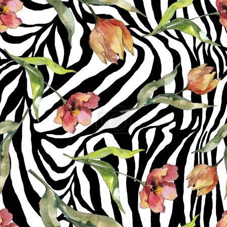 Photo pour Fleur botanique florale rouge de tulipe. Fleur sauvage sauvage de feuille de source. Ensemble d'illustration d'aquarelle. Aquarelle de dessin à l'aquarelle. Modèle de fond sans couture. Texture d'impression de papier peint de tissu. - image libre de droit