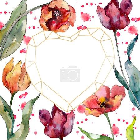 Photo pour Fleur botanique florale rouge de tulipe. Fleur sauvage de neige sauvage de feuille de source d'isolement. Ensemble d'illustration de fond d'aquarelle. Aquarelle de dessin à l'aquarelle. Carré d'ornement de cristal de bordure de cadre. - image libre de droit