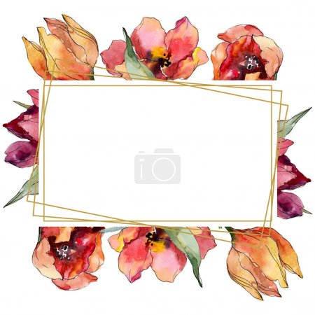 Photo for Red tulip floral botanical flower. Wild spring leaf wildflower isolated. Watercolor background illustration set. Watercolour drawing fashion aquarelle. Frame border crystal ornament square. - Royalty Free Image