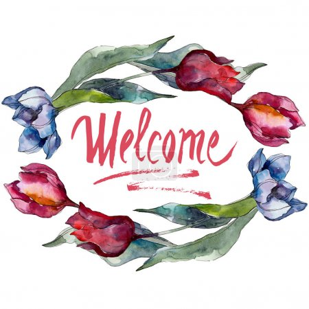 Photo pour Fleurs botaniques florales de tulipe. Fleur sauvage de neige sauvage de feuille de source d'isolement. Ensemble d'illustration d'aquarelle. Aquarelle de dessin à l'aquarelle. Modèle de fond sans couture. Texture d'impression de papier peint de tissu. - image libre de droit
