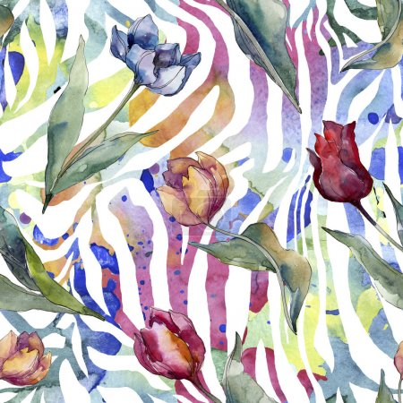 Photo for Tulip floral botanical flowers. Wild spring leaf wildflower isolated. Watercolor illustration set. Watercolour drawing fashion aquarelle. Seamless background pattern. Fabric wallpaper print texture. - Royalty Free Image