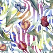 """Постер, картина, фотообои """"Тюльпан цветочные ботанические цветы. Дикий весенний лист полевых цветов изолированы. Набор иллюстраций акварели. Акварель рисунок моды акварели. Бесшовный фоновый шаблон. Ткань обои печати текстуры."""""""