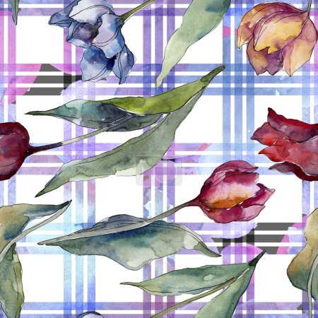 Tulip floral botanical flowers. Wild spring leaf wildflower isolated. Watercolor illustration set. Watercolour drawing fashion aquarelle. Seamless background pattern. Fabric wallpaper print texture.