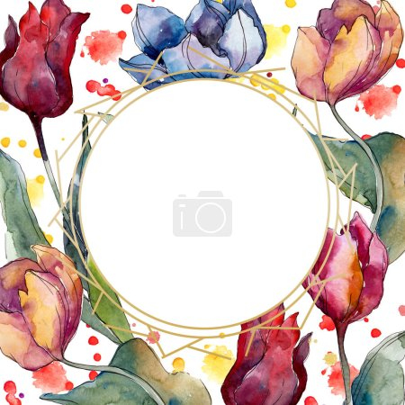 Photo for Tulip floral botanical flowers. Wild spring leaf wildflower isolated. Watercolor background illustration set. Watercolour drawing fashion aquarelle isolated. Frame border crystal ornament square. - Royalty Free Image