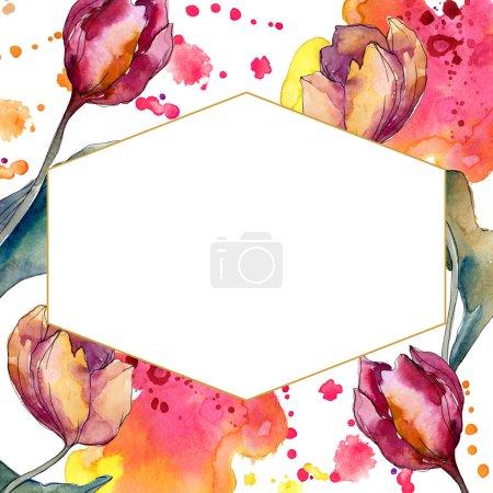 Photo pour Fleurs botaniques florales de tulipe. Fleur sauvage de neige sauvage de feuille de source d'isolement. Ensemble d'illustration de fond d'aquarelle. Aquarelle de mode de dessin d'aquarelle d'aquarelle d'aquarelle. Carré d'ornement de cristal de bordure de cadre. - image libre de droit
