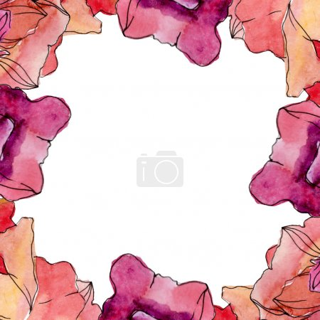 Photo pour Fleur botanique florale de pavot. Fleur sauvage de neige sauvage de feuille de source d'isolement. Ensemble d'illustration de fond d'aquarelle. Aquarelle de mode de dessin d'aquarelle d'aquarelle d'aquarelle. Carré d'ornement de bordure de cadre. - image libre de droit