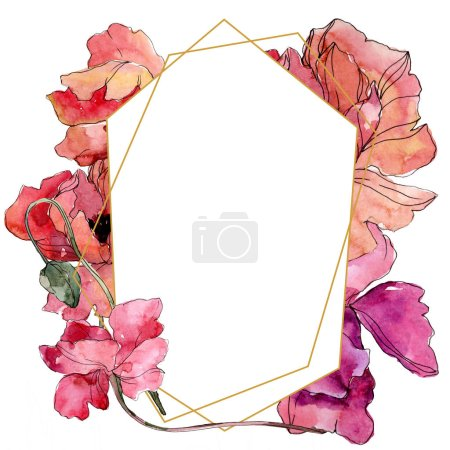 Photo for Poppy floral botanical flower. Wild spring leaf wildflower isolated. Watercolor background illustration set. Watercolour drawing fashion aquarelle. Frame border crystal ornament square. - Royalty Free Image