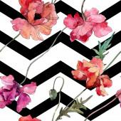 """Постер, картина, фотообои """"Мак цветочный ботанический цветок. Набор фоновых иллюстраций акварели. Бесшовный фоновый шаблон."""""""