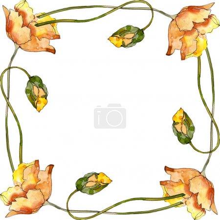 Photo pour Fleur botanique florale de pavot. Fleur sauvage de neige sauvage de feuille de source d'isolement. Ensemble d'illustration de fond d'aquarelle. Aquarelle de mode de dessin d'aquarelle d'aquarelle d'aquarelle. Carré d'ornement de bordure de cadre. - image libre de droit
