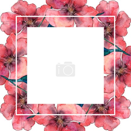 Photo for Poppy floral botanical flower. Wild spring leaf wildflower isolated. Watercolor background illustration set. Watercolour drawing fashion aquarelle isolated. Frame border ornament square. - Royalty Free Image