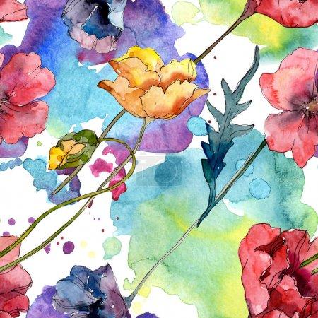 Photo pour Fleur botanique florale de pavot. Fleur sauvage sauvage de feuille de source. Ensemble d'illustration d'aquarelle. Aquarelle de dessin à l'aquarelle. Modèle de fond sans couture. Texture d'impression de papier peint de tissu. - image libre de droit