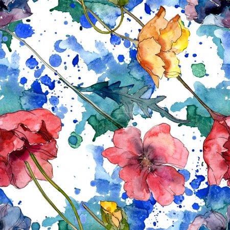 Foto de Flor botánica floral de amapola. Flor silvestre de la hoja de primavera wildflower. Conjunto de ilustraciones de acuarela. Acuarela dibujando moda acuarela. Patrón de fondo sin costuras. Textura de impresión de fondo de pantalla de tela. - Imagen libre de derechos