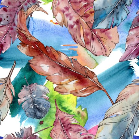 Photo pour Plume d'oiseau coloré d'aile isolé. Aquarelle de fond illustration ensemble. Aquarelle de mode dessin aquarelle isolé. Motif de fond transparente. Impression texture de tissu papier peint. - image libre de droit