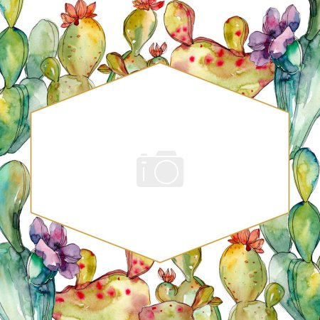 Photo pour Fleurs botaniques florales de cactus vert. Fleur sauvage de neige sauvage de feuille de source d'isolement. Ensemble d'illustration de fond d'aquarelle. Aquarelle de dessin à l'aquarelle. Carré d'ornement de cristal de bordure de cadre. - image libre de droit