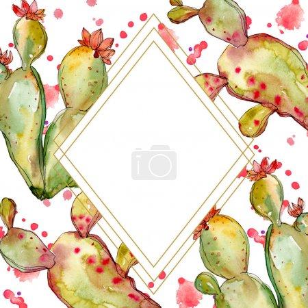 Photo pour Fleurs botaniques florales de cactus vert. Fleur sauvage de neige sauvage de feuille de source d'isolement. Ensemble d'illustration de fond d'aquarelle. Aquarelle de mode de dessin d'aquarelle d'aquarelle d'aquarelle. Carré d'ornement de bordure de cadre. - image libre de droit