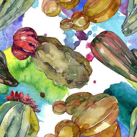 Photo for Cactus floral botanical flowers. Wild spring leaf wildflower. Watercolor illustration set. Watercolour drawing fashion aquarelle. Seamless background pattern. Fabric wallpaper print texture. - Royalty Free Image