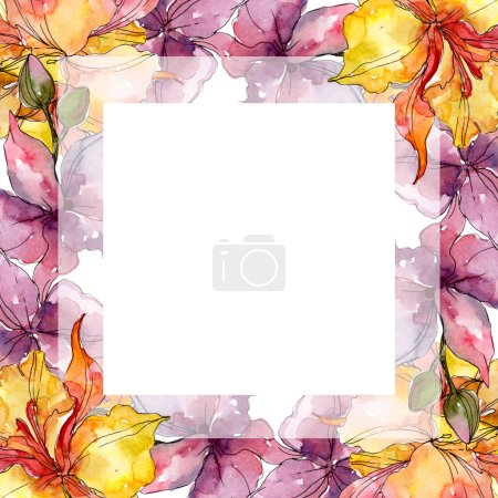Photo for Orchid floral botanical flowers. Wild spring leaf wildflower. Watercolor background illustration set. Watercolour drawing fashion aquarelle. Frame border ornament square. - Royalty Free Image
