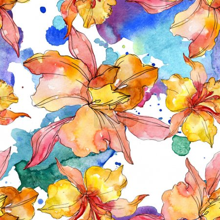 Photo for Orchid floral botanical flowers. Wild spring leaf wildflower. Watercolor illustration set. Watercolour drawing fashion aquarelle. Seamless background pattern. Fabric wallpaper print texture. - Royalty Free Image