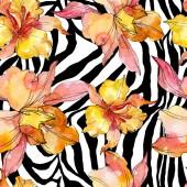 """Постер, картина, фотообои """"Орхидея цветочные ботанические цветы. Дикий весенний лист полевых цветов. Набор иллюстраций акварели. Акварель рисунок моды акварели. Бесшовный фоновый шаблон. Ткань обои печати текстуры."""""""