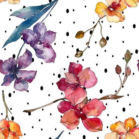 Photo pour Fleurs botaniques florales d'orchidée. Fleur sauvage sauvage de feuille de source. Ensemble d'illustration d'aquarelle. Aquarelle de dessin à l'aquarelle. Modèle de fond sans couture. Texture d'impression de papier peint de tissu. - image libre de droit