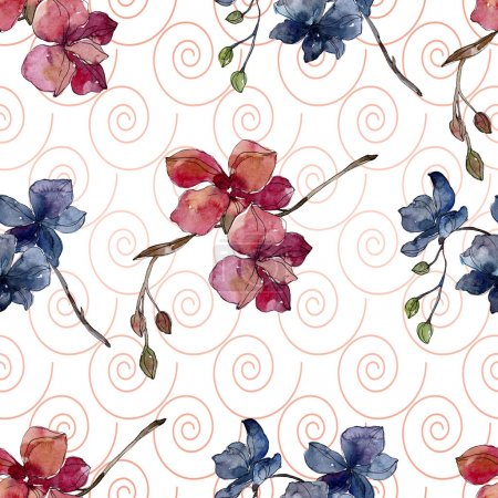 Orchid floral botanical flowers. Watercolor background illustration set. Seamless background pattern.