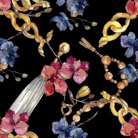 Foto de Flores botánicas florales de orquídeas. Flor silvestre de la hoja de primavera wildflower. Conjunto de ilustraciones de acuarela. Acuarela dibujando moda acuarela. Patrón de fondo sin costuras. Textura de impresión de fondo de pantalla de tela. - Imagen libre de derechos