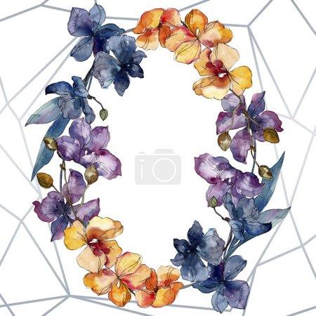 Photo pour Fleurs botaniques florales d'orchidée. Fleur sauvage de neige sauvage de feuille de source d'isolement. Ensemble d'illustration de fond d'aquarelle. Aquarelle de dessin à l'aquarelle. Carré d'ornement de cristal de bordure de cadre. - image libre de droit