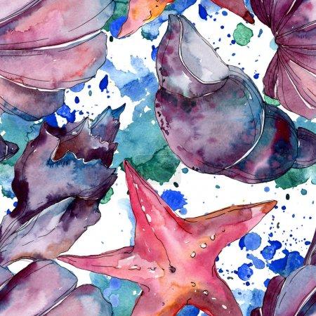 Foto de Verano playa de conchas tropicales tropicales. Conjunto de ilustraciones de fondo de acuarela. Acuarela dibujando moda acuarela aislada. Patrón de fondo sin costuras. Textura de impresión de fondo de pantalla de tela. - Imagen libre de derechos
