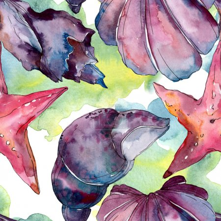 Photo for Summer beach seashell tropical elements. Watercolor background illustration set. Watercolour drawing fashion aquarelle isolated. Seamless background pattern. Fabric wallpaper print texture. - Royalty Free Image
