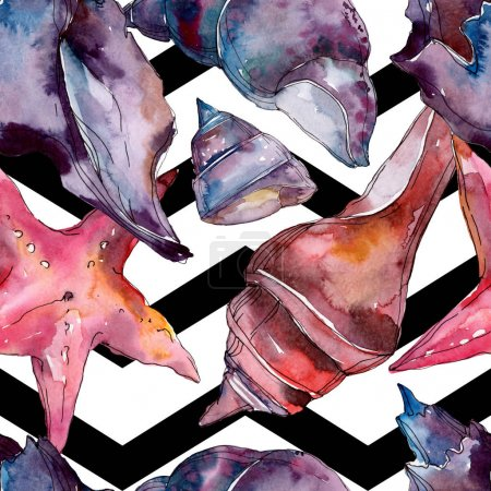 Photo pour Éléments tropicaux de coquillage de plage d'été. Ensemble d'illustration de fond d'aquarelle. Aquarelle de mode de dessin d'aquarelle d'aquarelle d'aquarelle. Modèle de fond sans couture. Texture d'impression de papier peint de tissu. - image libre de droit