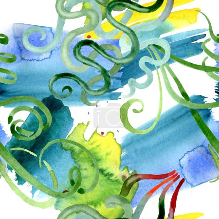 Foto de Flores botánicas florales suculentas verdes. Flor silvestre de hoja de primavera. Juego de ilustración en acuarela. Acuarela dibujo moda aquarelle. Patrón de fondo sin costuras. Textura de impresión de papel pintado de tela . - Imagen libre de derechos