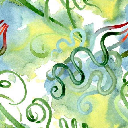 Foto de Flores botánicas florales suculentas verdes. Flor silvestre de la hoja de primavera wildflower. Conjunto de ilustraciones de acuarela. Acuarela dibujando moda acuarela. Patrón de fondo sin costuras. Textura de impresión de fondo de pantalla de tela. - Imagen libre de derechos