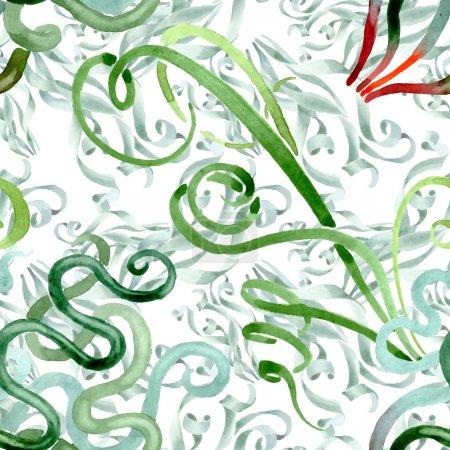 Photo pour Fleurs florales florales succulentes vertes. Fleur sauvage sauvage de feuille de source. Ensemble d'illustration d'aquarelle. Aquarelle de dessin à l'aquarelle. Modèle de fond sans couture. Texture d'impression de papier peint de tissu. - image libre de droit