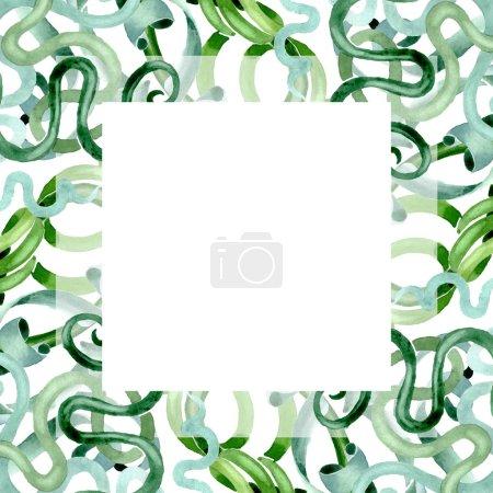 Foto de Flores botánicas florales suculentas verdes. Hoja de primavera silvestre wildflower aislado. Conjunto de ilustraciones de fondo de acuarela. Acuarela dibujando moda acuarela aislada. Marco borde ornamento cuadrado. - Imagen libre de derechos