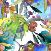 """Постер, картина, фотообои """"Оливковая ветвь с черными и зелеными фруктами. Акварельная Иллюстрация набора фона. Акварель рисунок модной акварели изолированы. Бесшовные фоновые модели. Ткань Обои печать текстуры."""""""