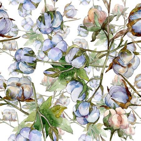 Foto de Flores botánicas florales de algodón blanco. Conjunto de ilustraciones de acuarela. Patrón de fondo sin costuras. Textura de impresión de fondo de pantalla. - Imagen libre de derechos