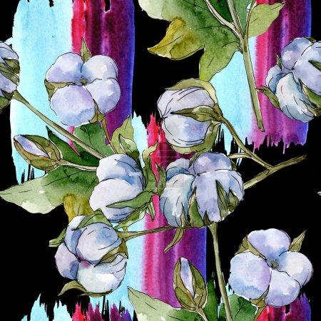 Photo pour Fleurs botaniques florales de coton blanc. Ensemble d'illustration d'aquarelle. Modèle de fond sans couture. Texture d'impression de papier peint. - image libre de droit
