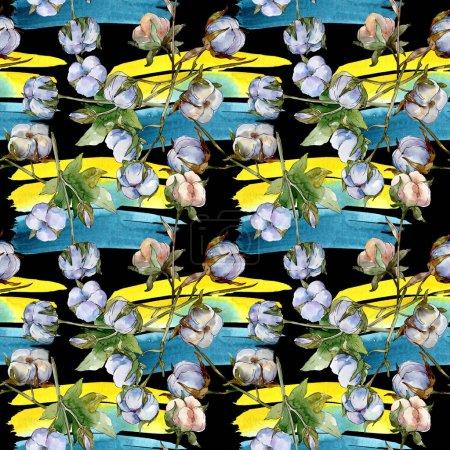 Flores botánicas florales de algodón blanco. Juego de ilustración en acuarela. Patrón de fondo sin costuras. Fondo de pantalla imprimir textura .