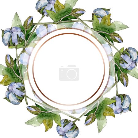 Photo for White cotton floral botanical flowers. Watercolor background illustration set. Frame border crystal ornament with copy space. - Royalty Free Image