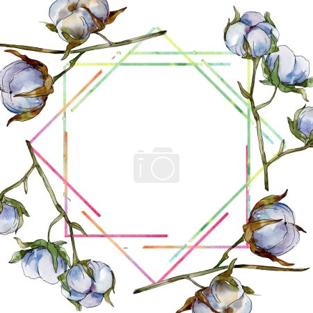 Photo pour Fleurs botaniques florales de coton blanc. Ensemble d'illustration de fond d'aquarelle. Ornement en cristal de bordure de cadre avec l'espace de copie. - image libre de droit