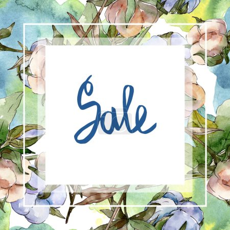 Photo for Cotton botanical flowers. Watercolor background illustration set isolated on white. Frame border ornament with sale lettering. - Royalty Free Image