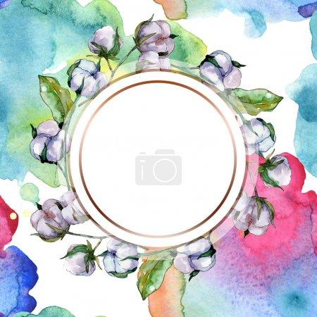 Photo pour Fleur botanique floral coton. Wildflower de feuille de printemps sauvage isolé. Aquarelle de fond illustration ensemble. Aquarelle de mode dessin aquarelle isolé. Place de cadre bordure ornement. - image libre de droit