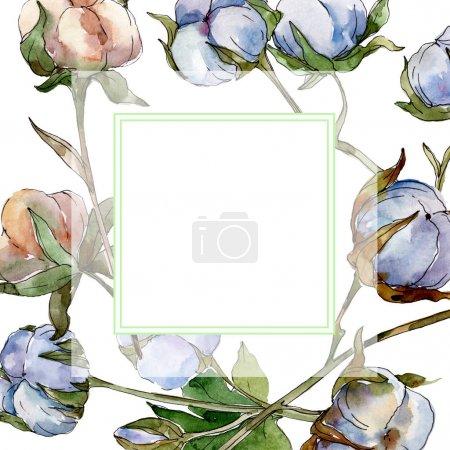 Foto de Flores botánicas florales de algodón blanco. Conjunto de ilustraciones de fondo de acuarela. Adorno de cristal de borde de marco con espacio de copia. - Imagen libre de derechos