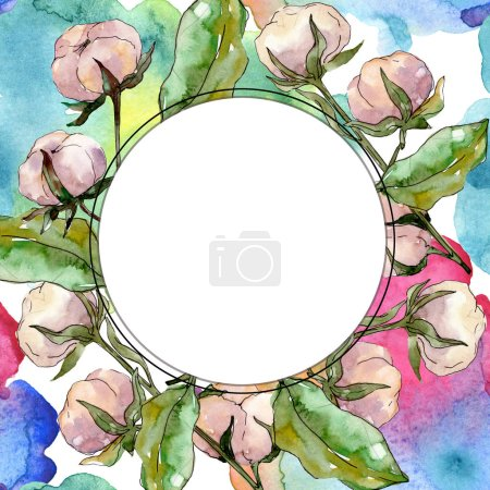 Photo for Cotton floral botanical flower. Wild spring leaf wildflower isolated. Watercolor background illustration set. Watercolour drawing fashion aquarelle isolated. Frame border ornament square. - Royalty Free Image